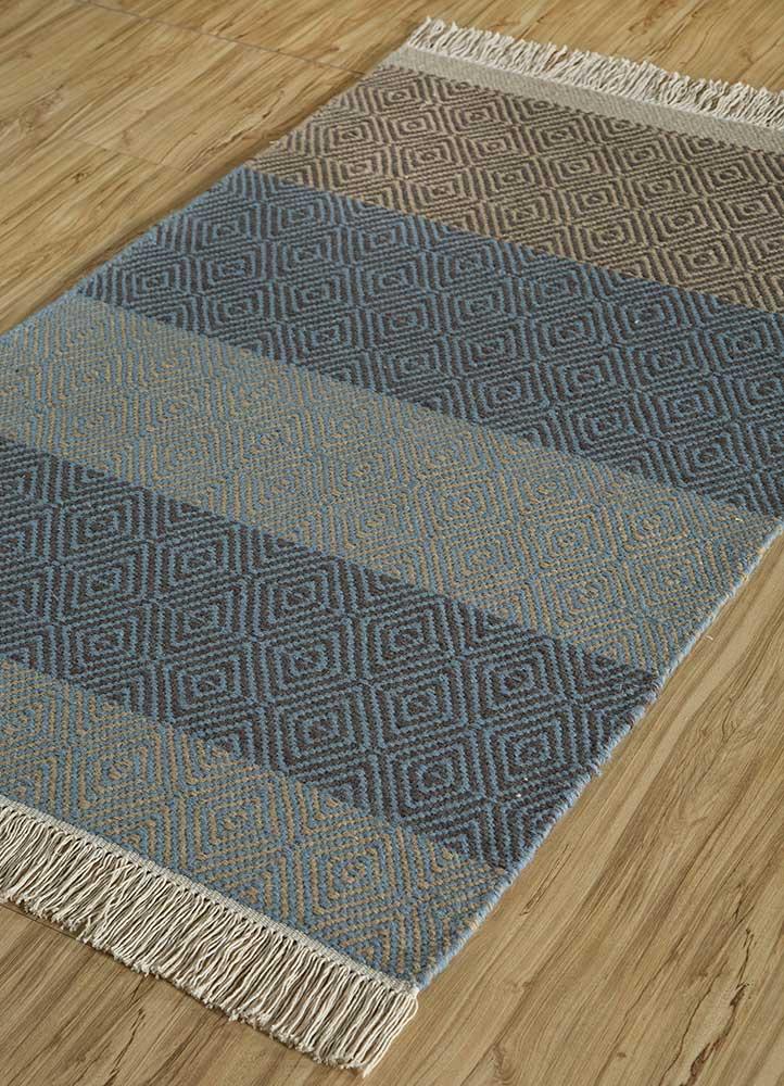 kaross beige and brown wool flat weaves Rug - FloorShot