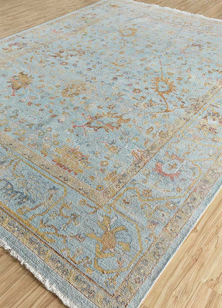 someplace in time blue wool hand knotted Rug - FloorShot