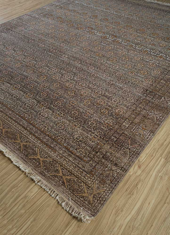someplace in time beige and brown wool hand knotted Rug - FloorShot
