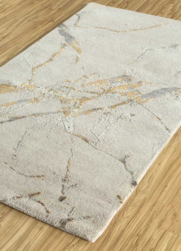 urban pause by kavi ivory wool and silk hand knotted Rug - FloorShot