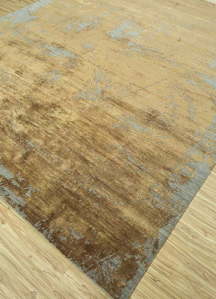 free verse by kavi beige and brown wool and silk hand knotted Rug - FloorShot