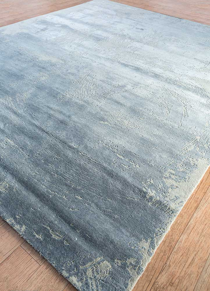 free verse by kavi grey and black wool and silk hand knotted Rug - FloorShot