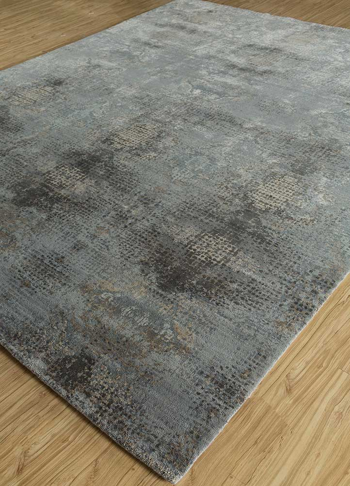 hidden by kavi blue wool and silk hand knotted Rug - FloorShot