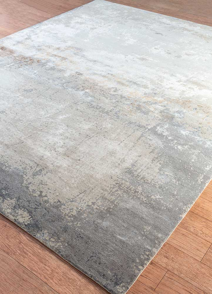 faulty blend by kavi ivory wool and bamboo silk hand knotted Rug - FloorShot