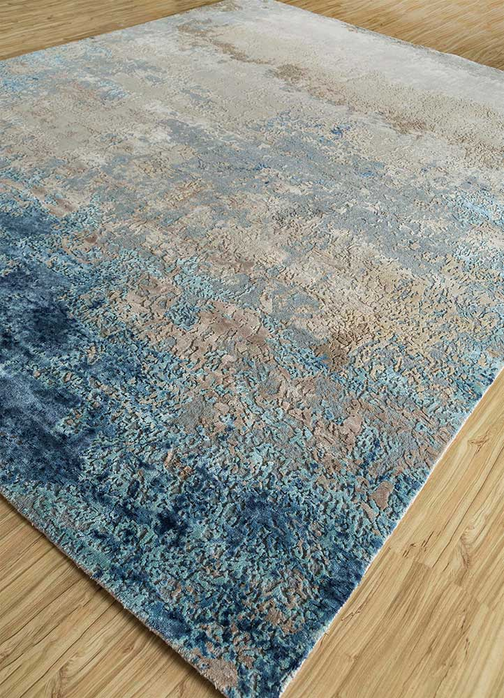 faulty blend by kavi ivory wool and viscose hand knotted Rug - FloorShot