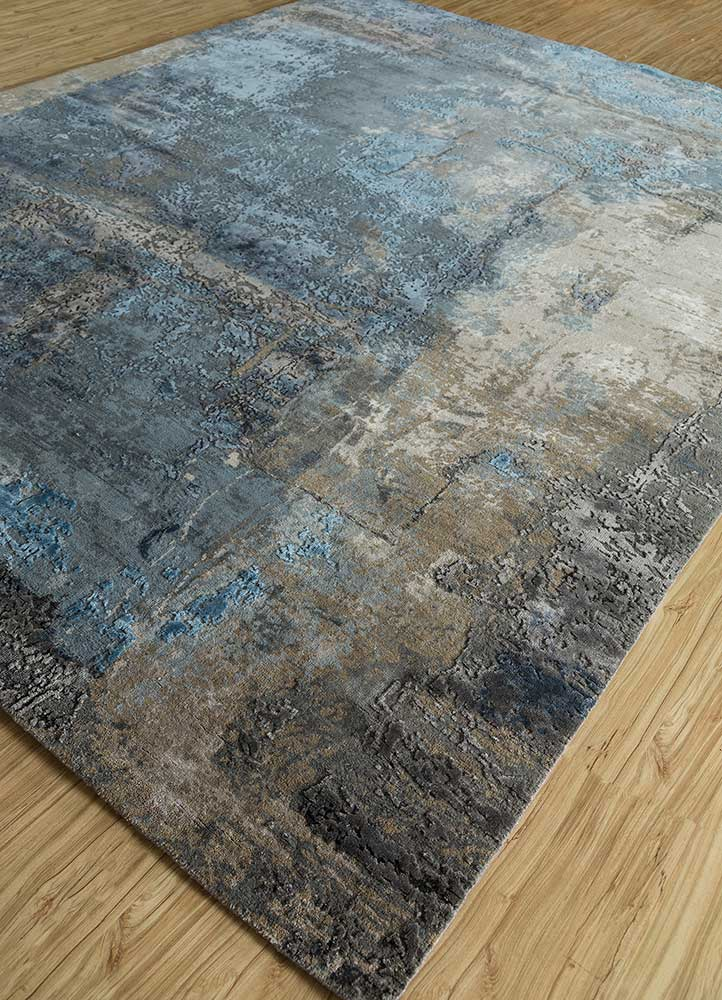 faulty blend by kavi grey and black wool and bamboo silk hand knotted Rug - FloorShot