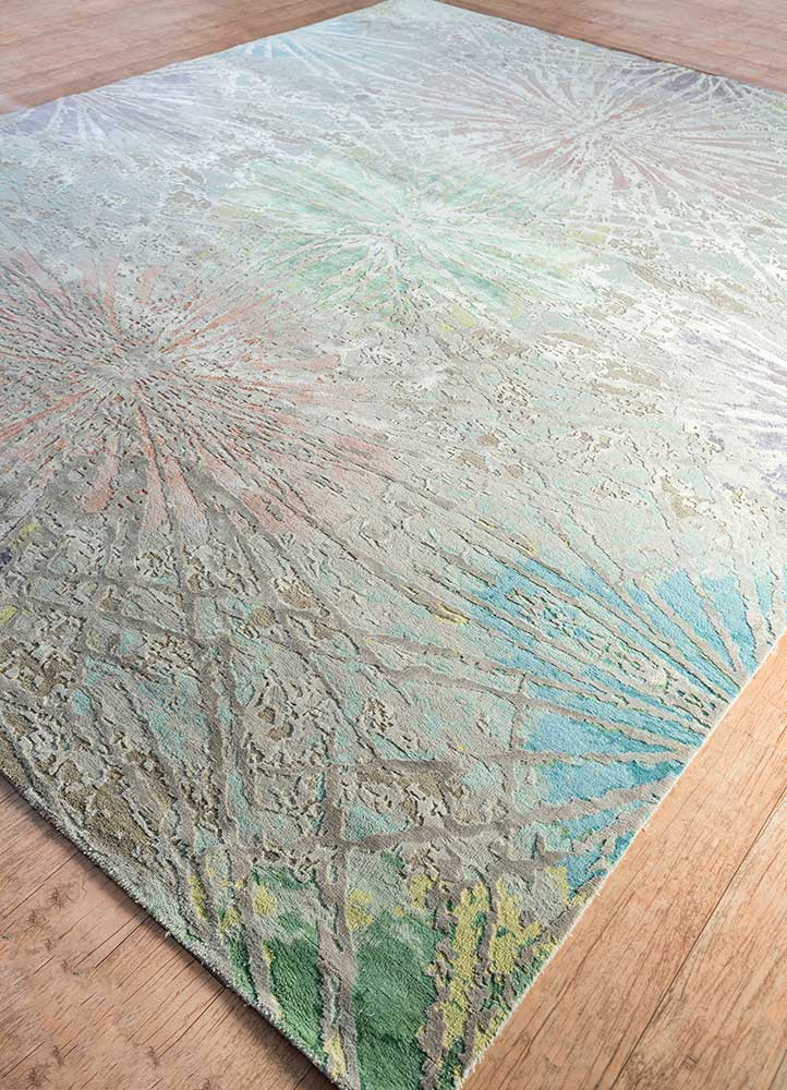 chaos theory by kavi grey and black wool and bamboo silk hand knotted Rug - FloorShot