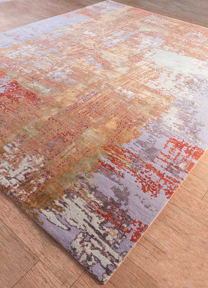 project error by kavi red and orange wool and bamboo silk hand knotted Rug - FloorShot