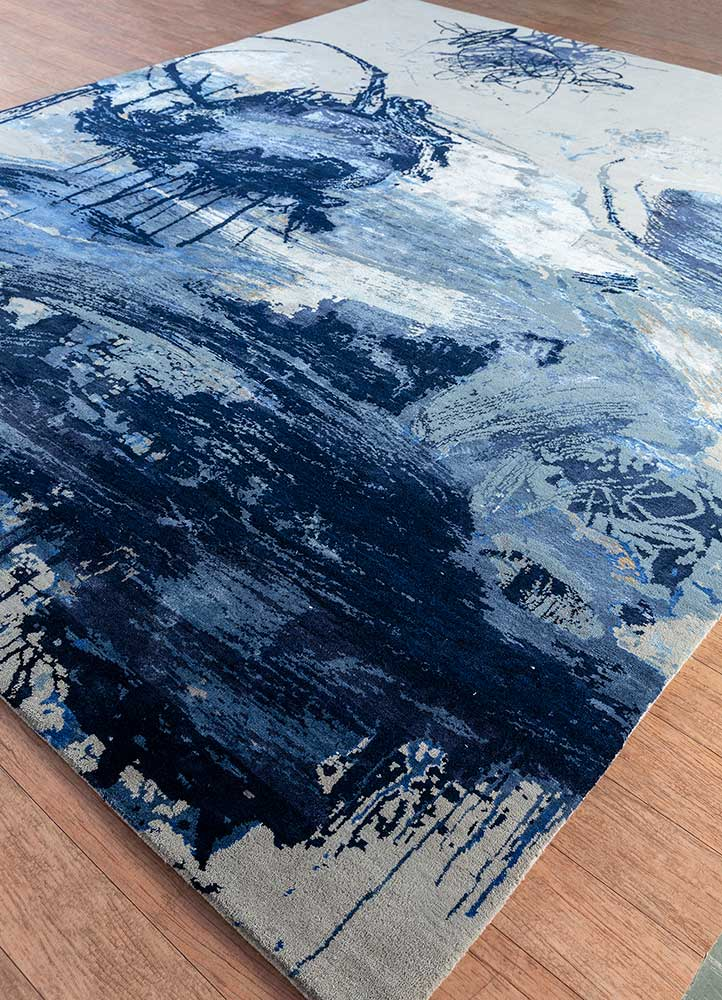 untitled by kavi ivory wool and bamboo silk hand knotted Rug - FloorShot