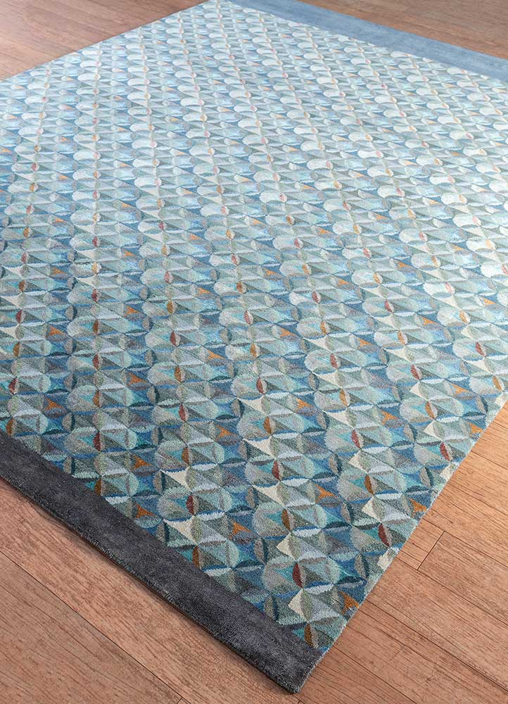 aakar by kavi blue wool and bamboo silk hand knotted Rug - FloorShot