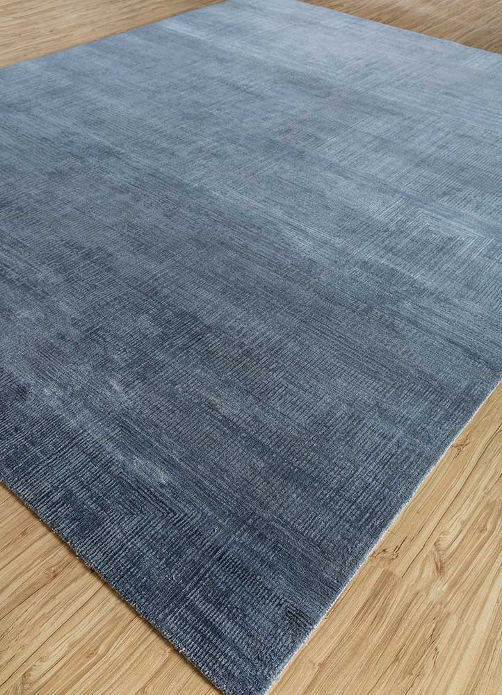 project error by kavi blue wool and bamboo silk hand knotted Rug - FloorShot