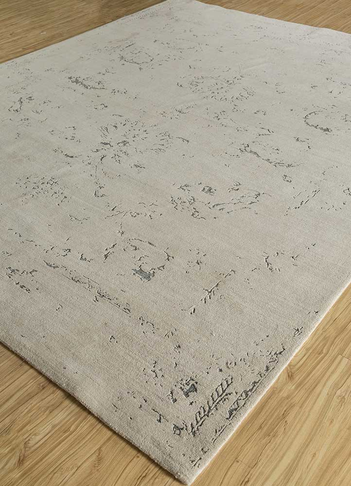 kibrast ivory wool and bamboo silk hand knotted Rug - FloorShot