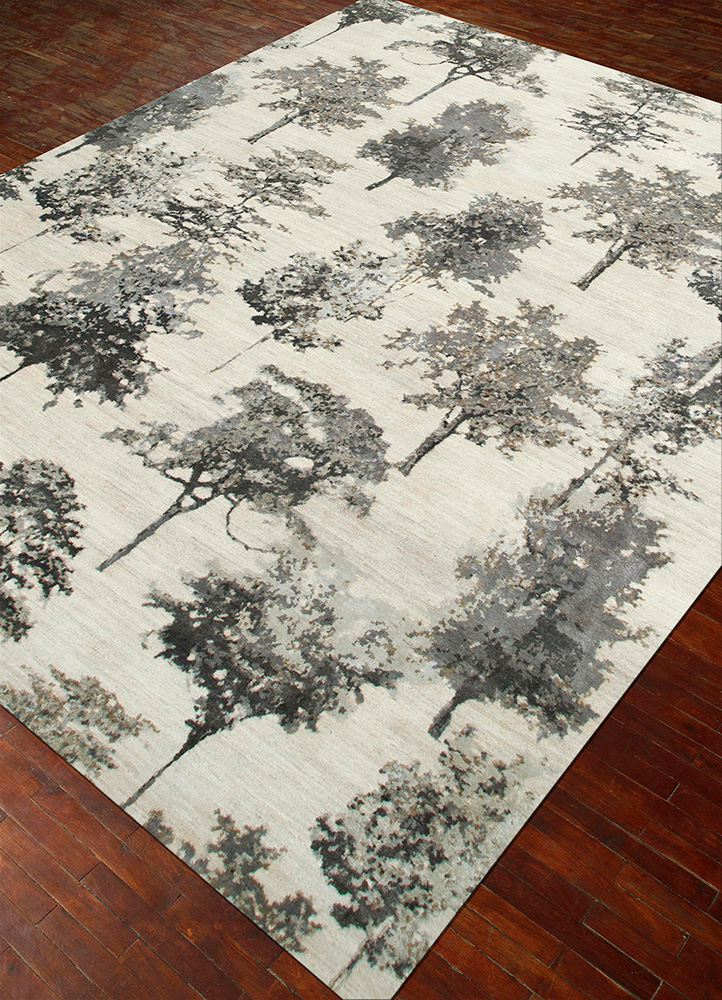 project error by kavi ivory wool and bamboo silk hand knotted Rug - FloorShot