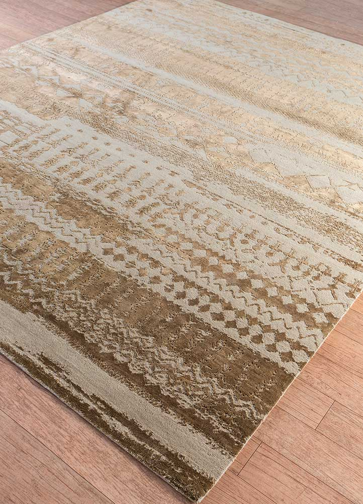 project error by kavi beige and brown wool and bamboo silk hand knotted Rug - FloorShot