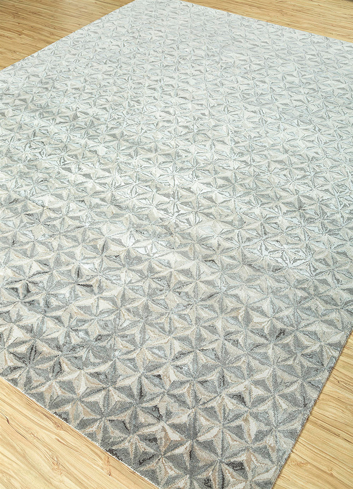 free verse by kavi ivory wool and bamboo silk hand knotted Rug - FloorShot
