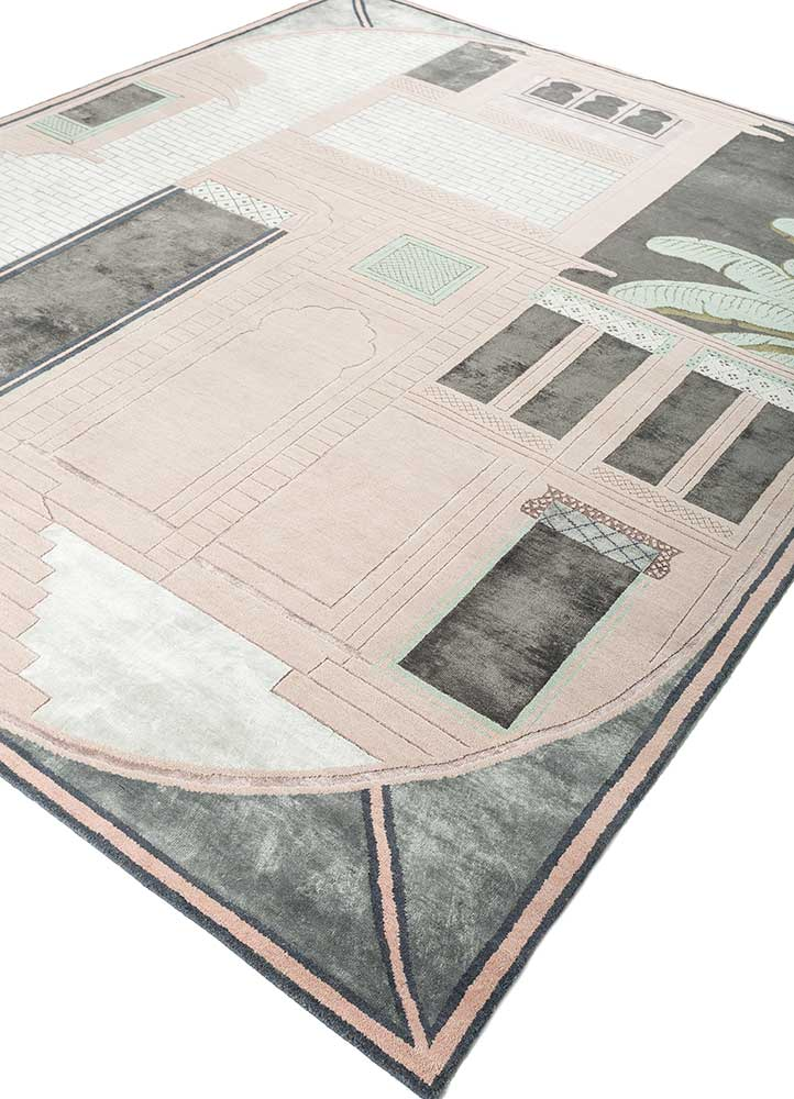 jaipur wunderkammer pink and purple wool and bamboo silk hand knotted Rug - FloorShot