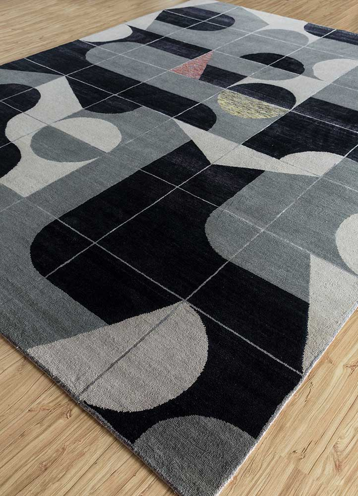 aakar by kavi ivory wool and bamboo silk hand knotted Rug - FloorShot
