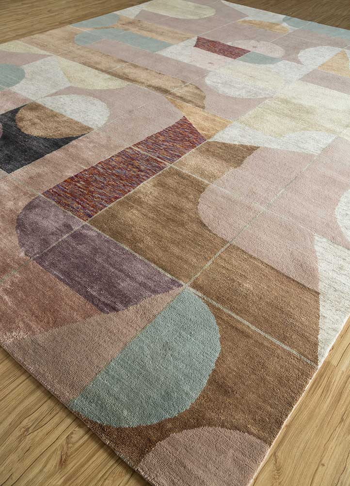 aakar by kavi pink and purple wool and bamboo silk hand knotted Rug - FloorShot