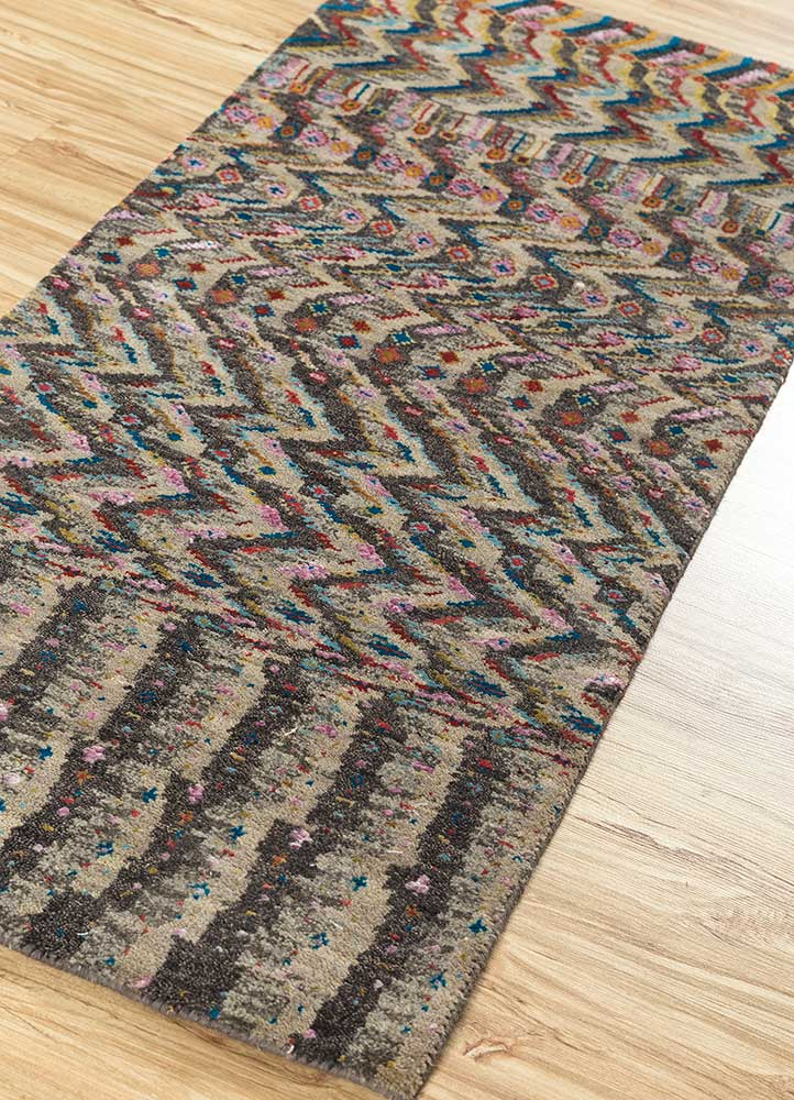 artisan originals pink and purple wool and bamboo silk hand knotted Rug - FloorShot