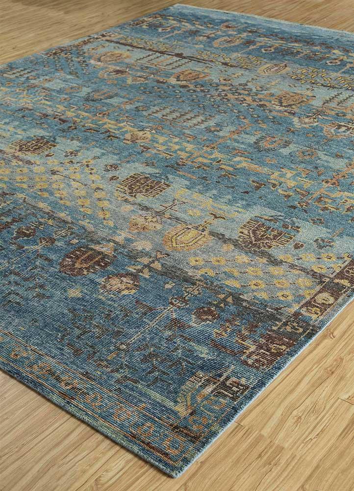 viscaya blue wool hand knotted Rug - FloorShot