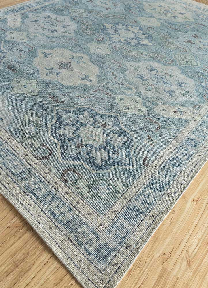 pansy blue wool hand knotted Rug - FloorShot