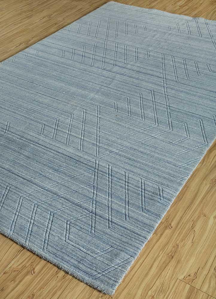 graze blue polyester hand loom Rug - FloorShot