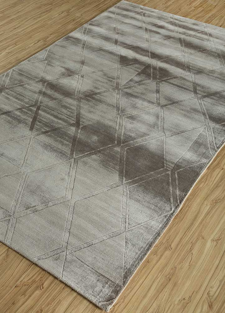 entropy grey and black viscose hand loom Rug - FloorShot