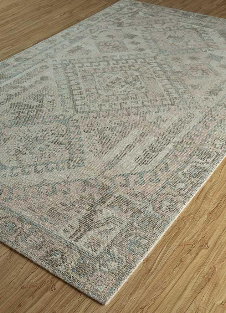 acar beige and brown wool and bamboo silk hand loom Rug - FloorShot