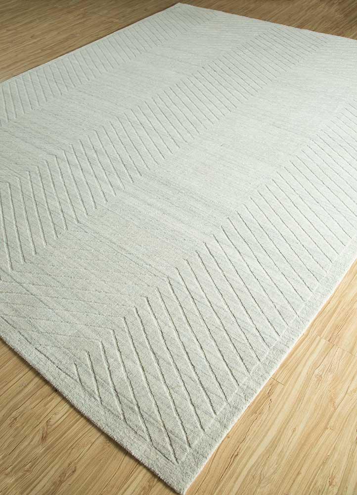 graze grey and black wool hand loom Rug - FloorShot
