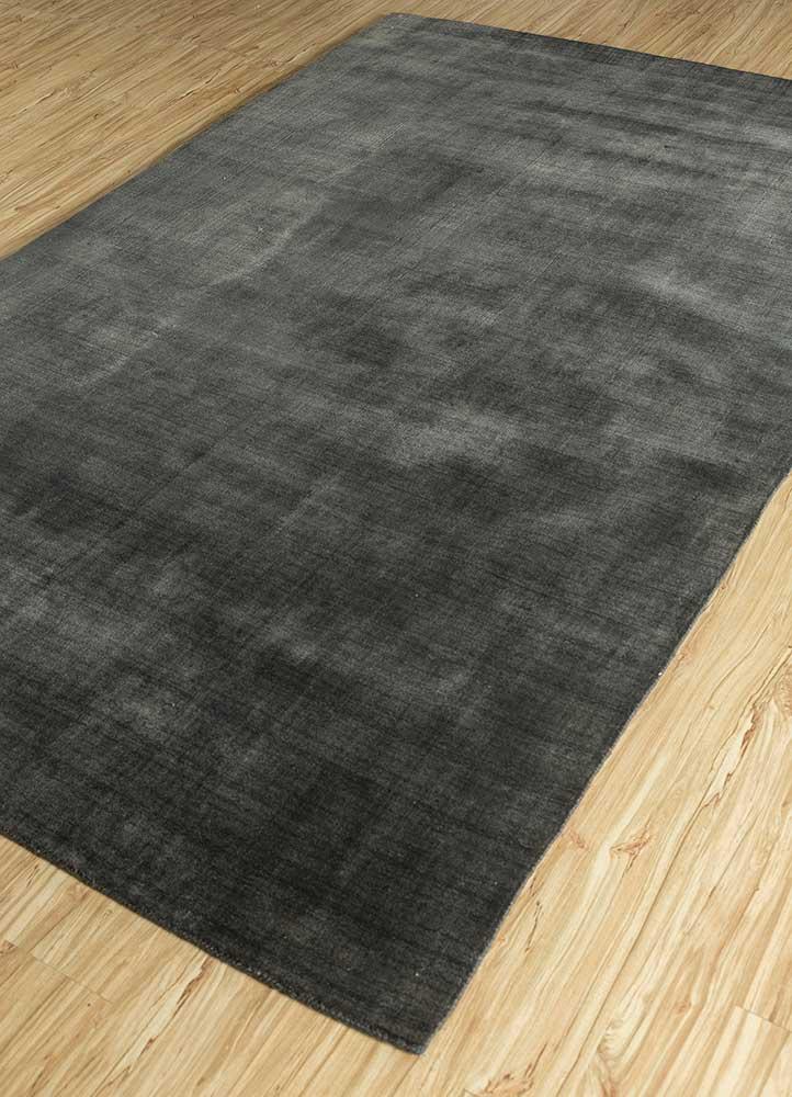oxford grey and black wool and viscose hand loom Rug - FloorShot