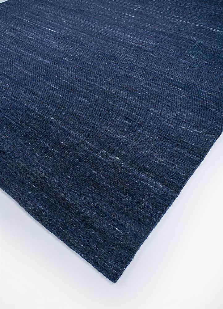basis blue wool and viscose hand loom Rug - FloorShot