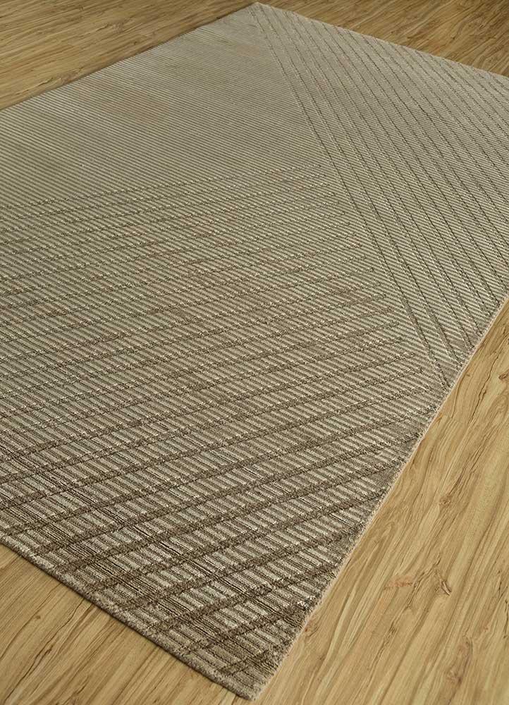 oxford beige and brown wool and viscose hand loom Rug - FloorShot