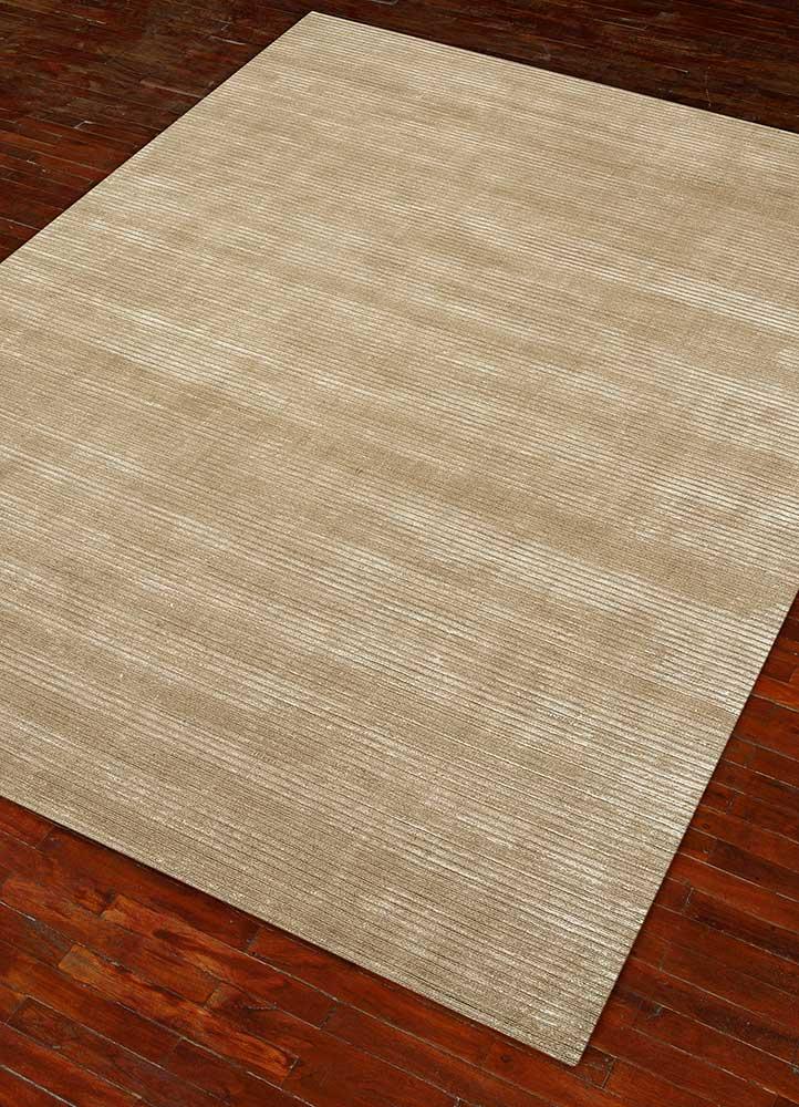 basis beige and brown wool and viscose hand loom Rug - FloorShot