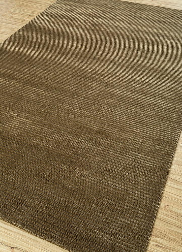 basis gold wool and viscose hand loom Rug - FloorShot