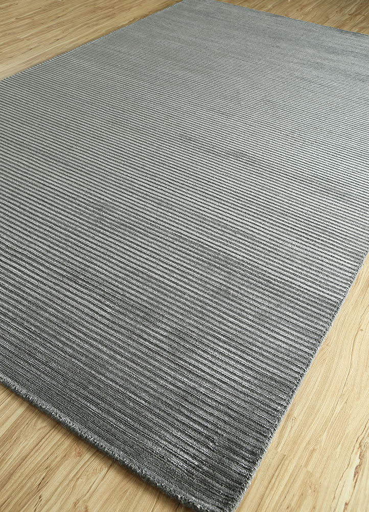 basis grey and black wool and viscose hand loom Rug - FloorShot