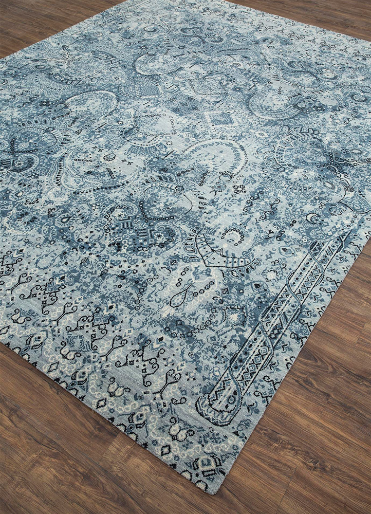 mezcla blue wool hand knotted Rug - FloorShot