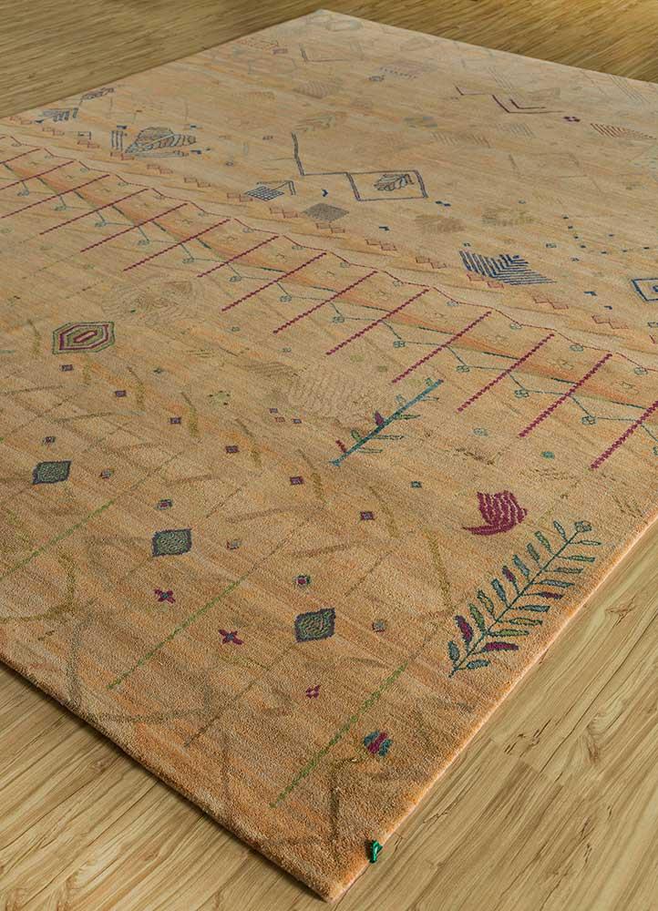 artisan originals red and orange wool hand knotted Rug - FloorShot