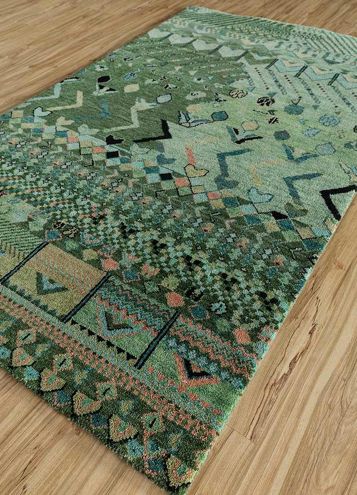 artisan originals blue wool hand knotted Rug - FloorShot