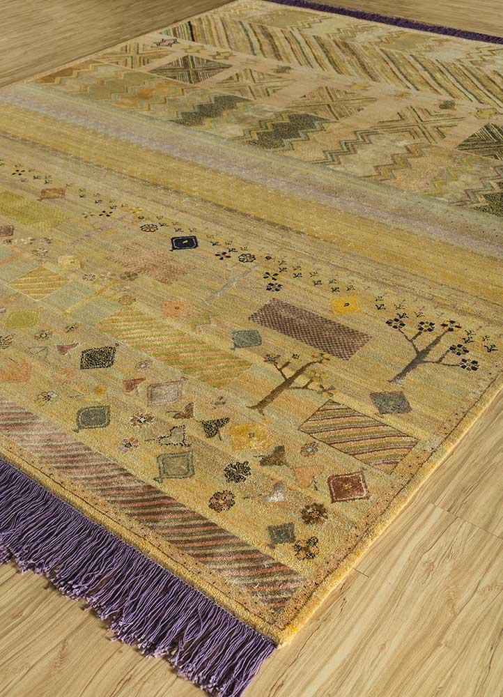 artisan originals gold wool and bamboo silk hand knotted Rug - FloorShot