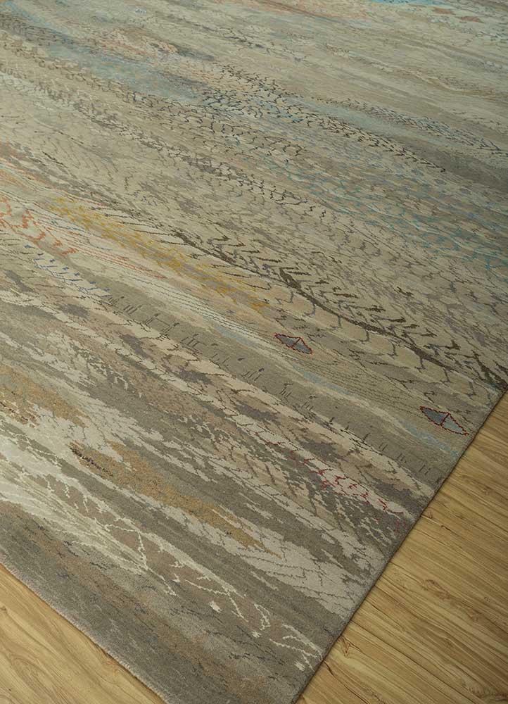 artisan originals ivory wool and bamboo silk hand knotted Rug - FloorShot