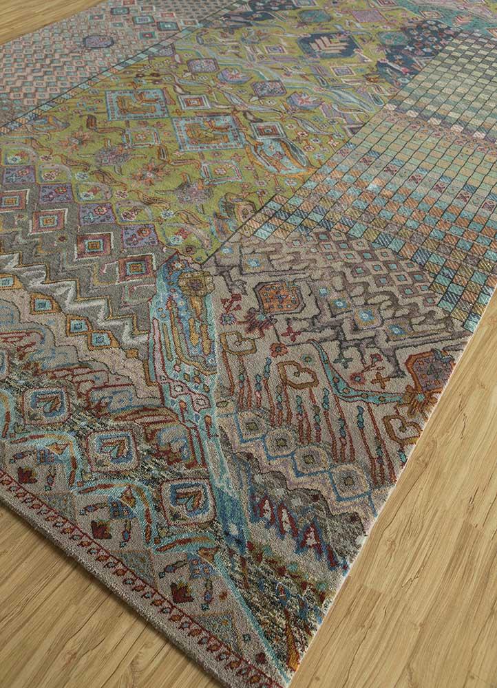 artisan originals grey and black wool and bamboo silk hand knotted Rug - FloorShot