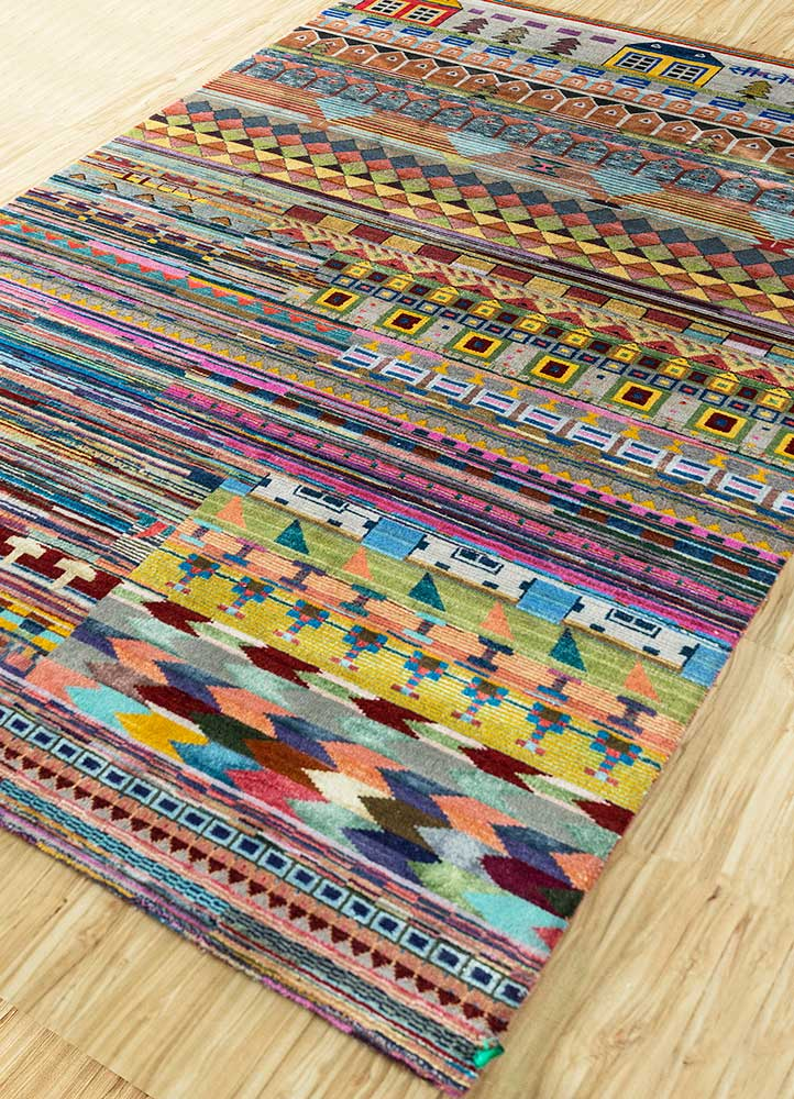 freedom manchaha red and orange wool and bamboo silk hand knotted Rug - FloorShot
