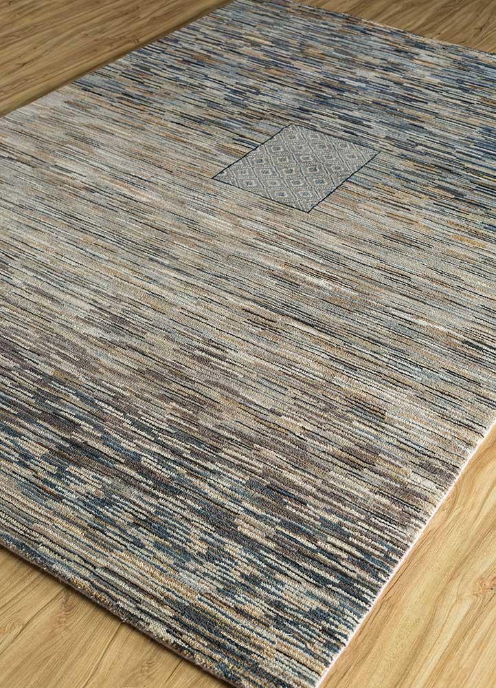 freedom manchaha ivory wool and bamboo silk hand knotted Rug - FloorShot