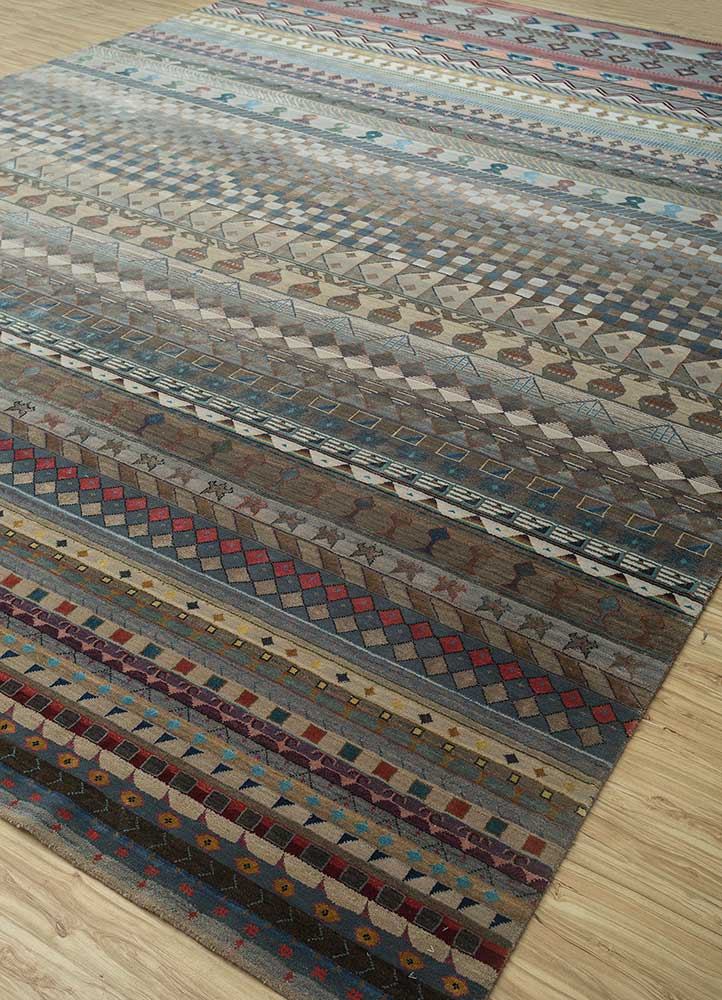 freedom manchaha beige and brown wool and bamboo silk hand knotted Rug - FloorShot