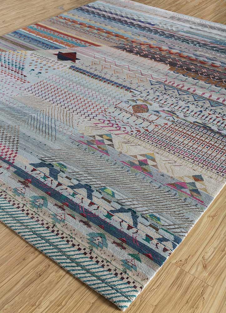 freedom manchaha blue wool and bamboo silk hand knotted Rug - FloorShot