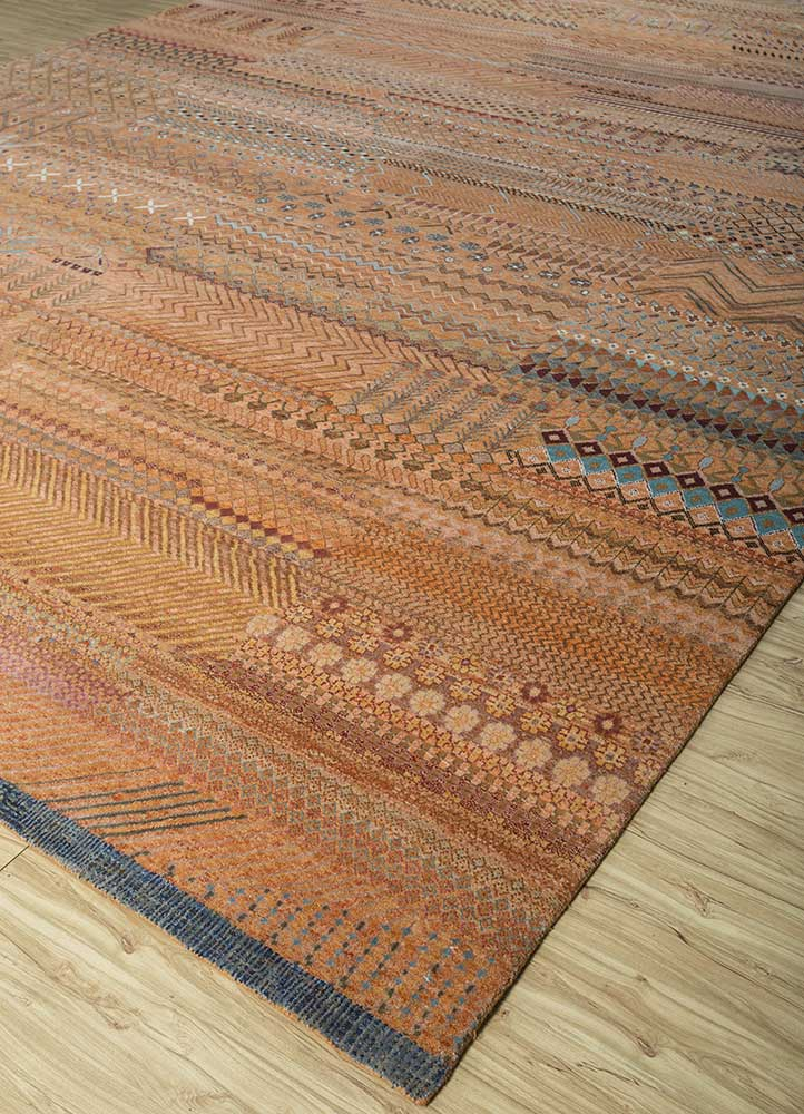 artisan originals red and orange wool and bamboo silk hand knotted Rug - FloorShot