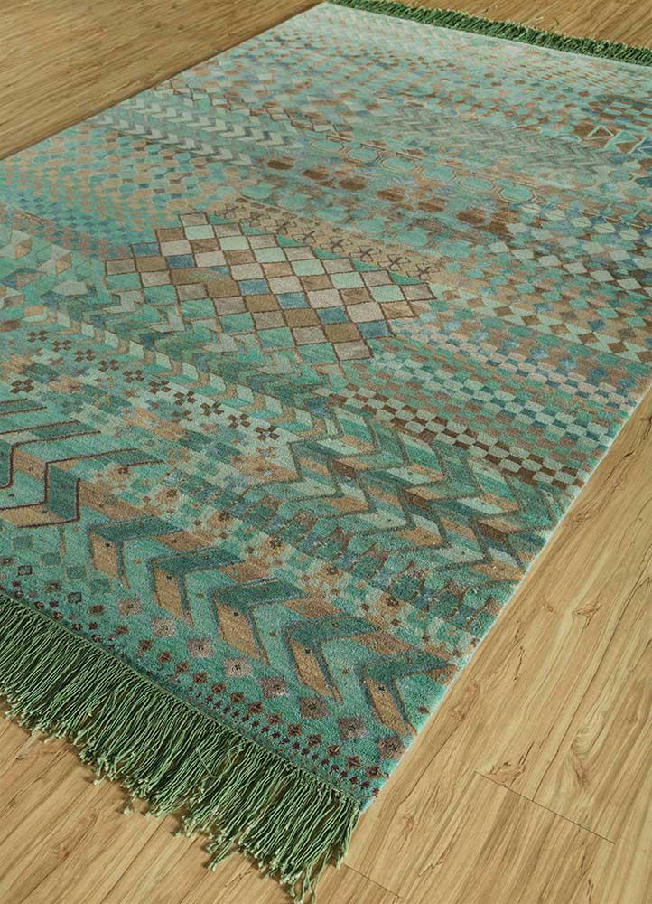 artisan originals blue wool and bamboo silk hand knotted Rug - FloorShot