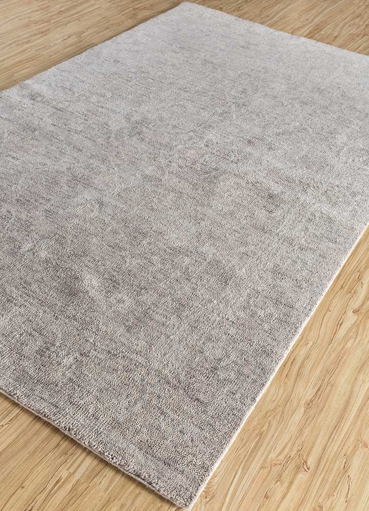 outdoor grey and black polyester hand knotted Rug - FloorShot