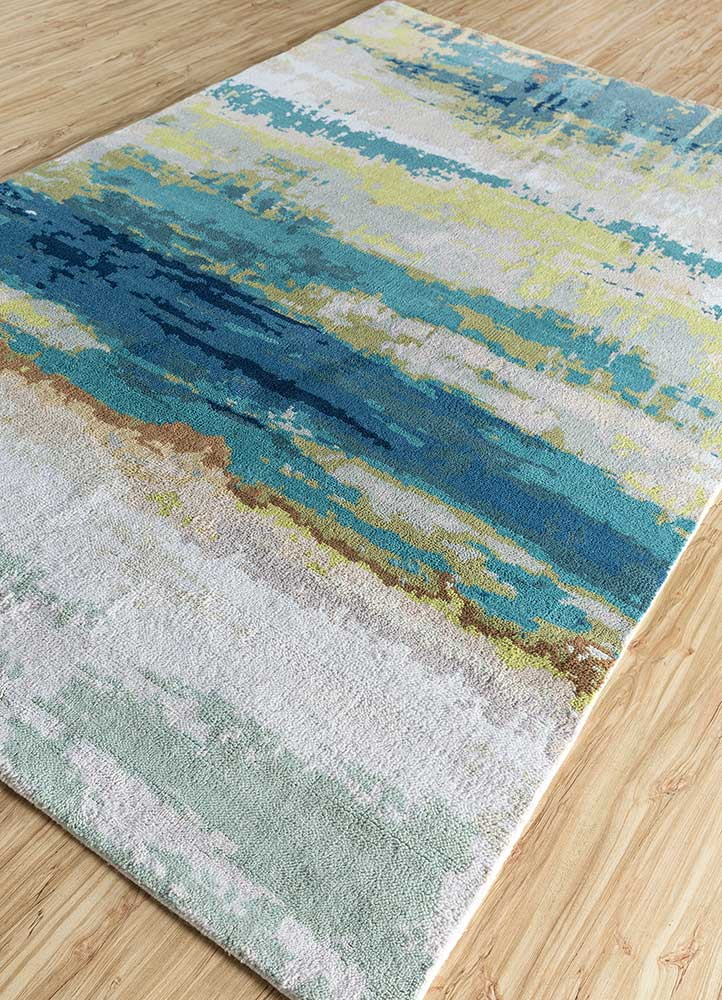 outdoor ivory polyester hand knotted Rug - FloorShot