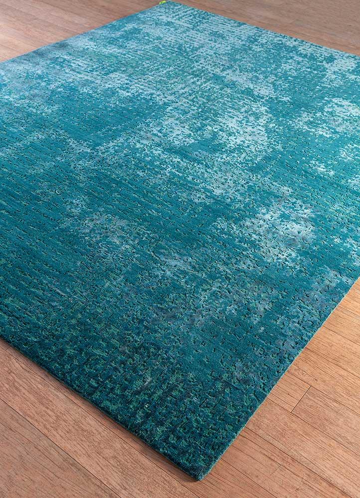 uvenuti blue wool and bamboo silk hand knotted Rug - FloorShot